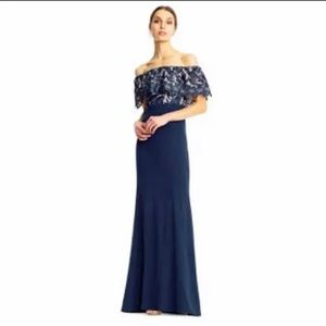 Size 2 Aidan Mattox Off Shoulder Blue Lace Gown